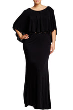 Load image into Gallery viewer, Black Cape Overlay Plus Size Dress