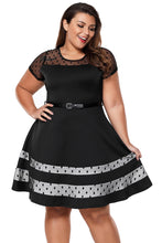 Load image into Gallery viewer, Black Dotted Mesh Insert Flare Plus Size Dress with Belt