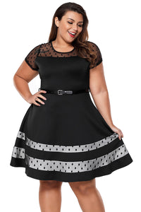 Black Dotted Mesh Insert Flare Plus Size Dress with Belt