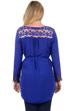 Load image into Gallery viewer, Navy Blue Lace Embellished Long Tail Plus Size Top