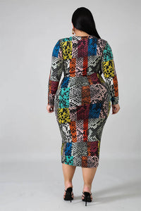 Multi Color Long Sleeve Midi Dress