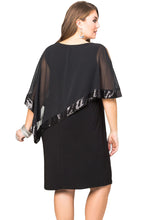 Load image into Gallery viewer, Black Sequined Mesh Overlay Plus Size Poncho Dress