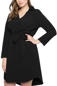 Black Diagonal Button Detail V Neck Plus Size Dress