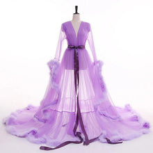 Load image into Gallery viewer, Tulle Evening Robe (Purple, Green)
