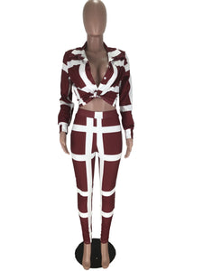 Venmé Print Stripe Two Piece Set