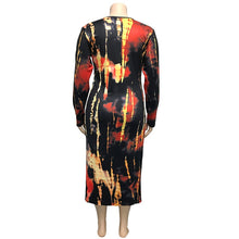 Load image into Gallery viewer, Tie-Dye V-neck Midi Dress