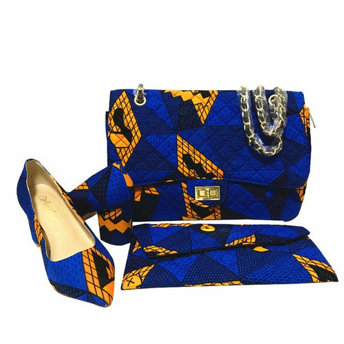 Wax fabric Handbag and Shoe Set (Multiple Colors)