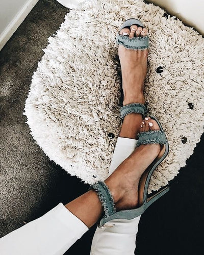 Denim Gladiator  Heels (Blue, White)