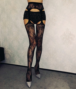 Lace Tights With Rhinestone Accent