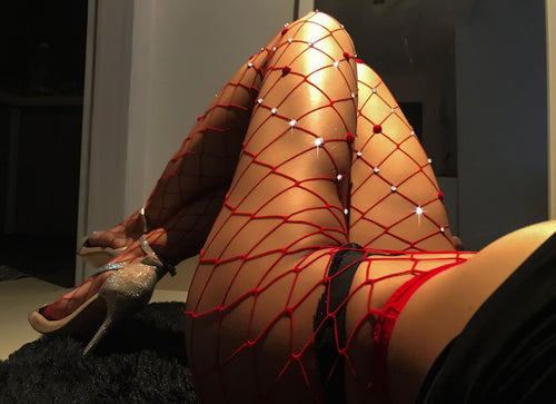 Red Diamond Fishnet Stockings