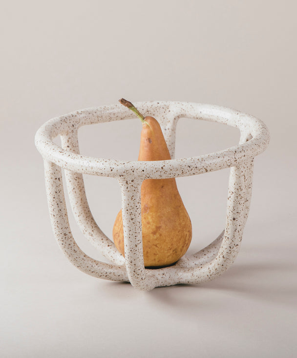 Moth Fruit Bowl, Speckled White