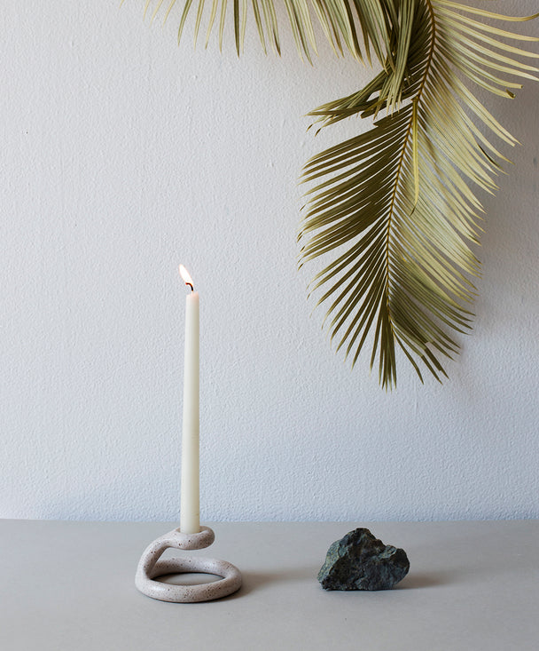Uni Candlestick, Speckled White - SIN  |  Home goods & ceramics
