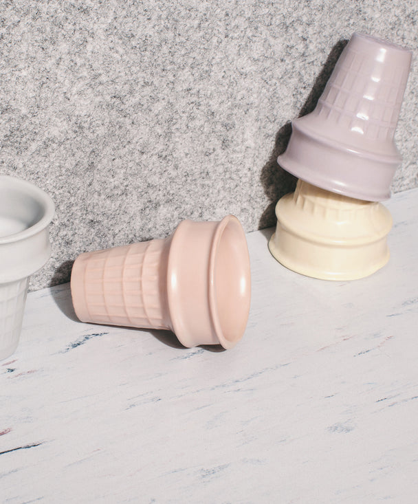 Porcelain Pastel Ice cream cones, Set of 4