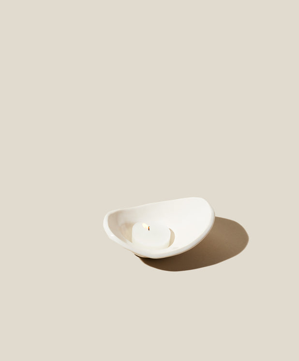 Cy Tea Light Candleholder, White