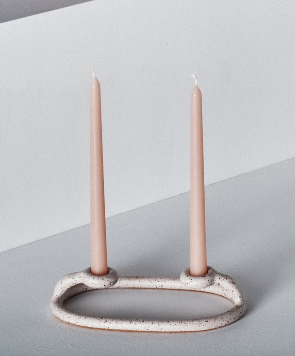 Duo Candlestick, Speckled White - SIN  |  Home goods & ceramics