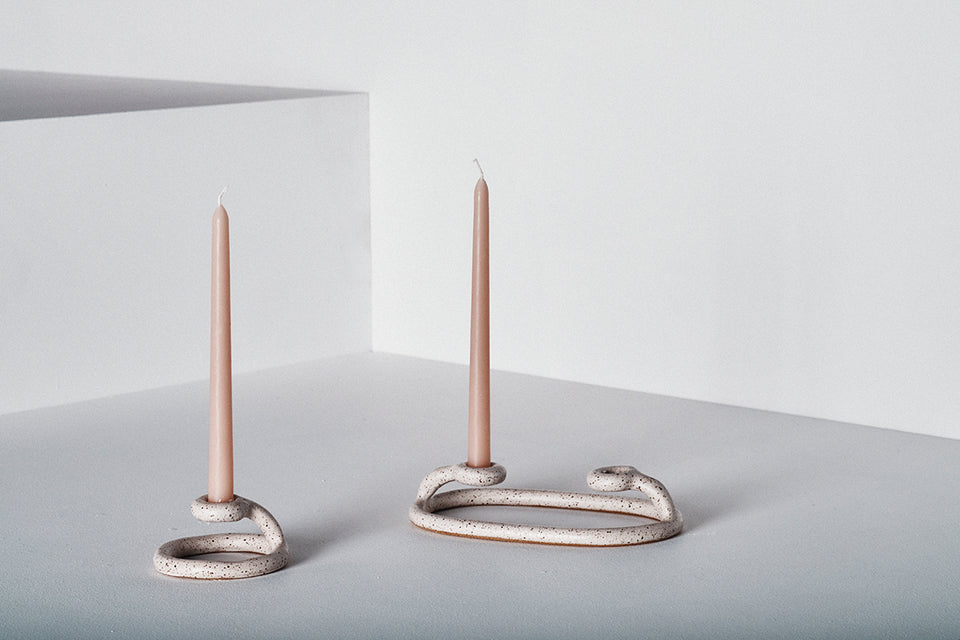 Duo Candlestick, Speckled White