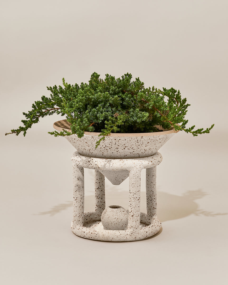 Reservoir Floor Planter, Speckled White