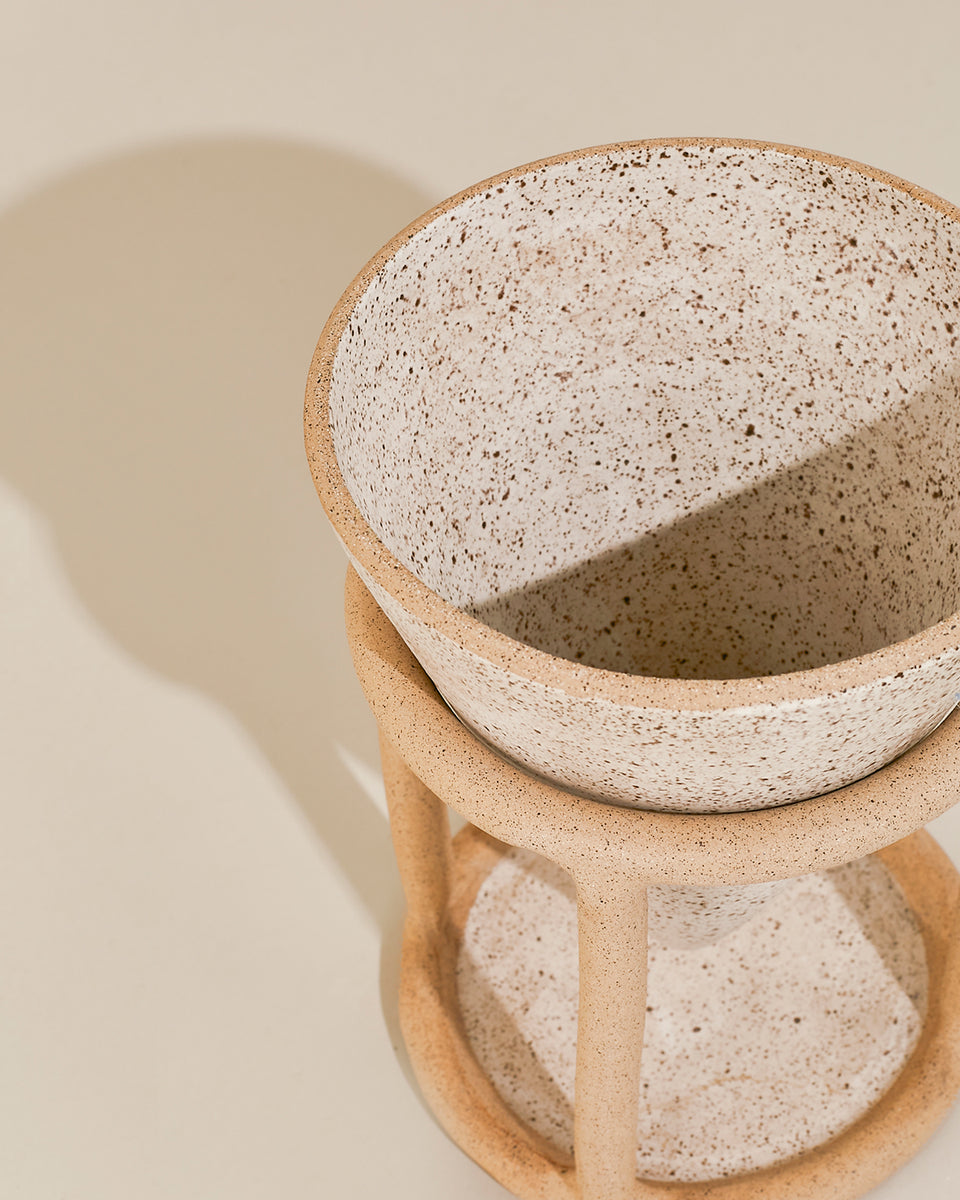 Reservoir Table Planter, Speckled White