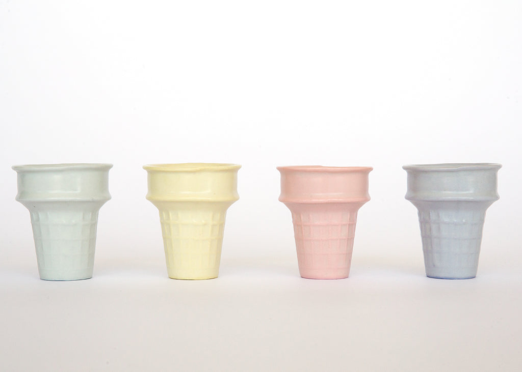 Ceramics - Pastel Ice Cream Cones, Set Of 4