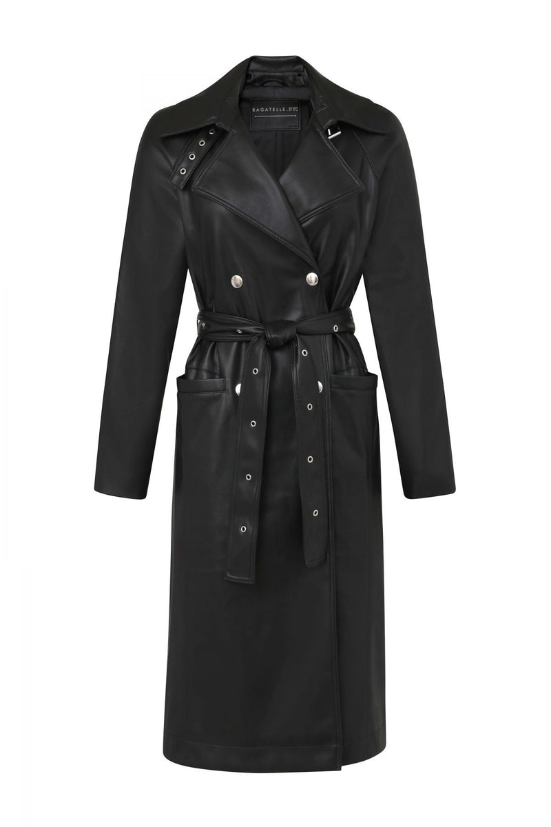 BAGATELLE.NYC Belted Vegan Leather Trench Outerwear Bagatelle Black XS