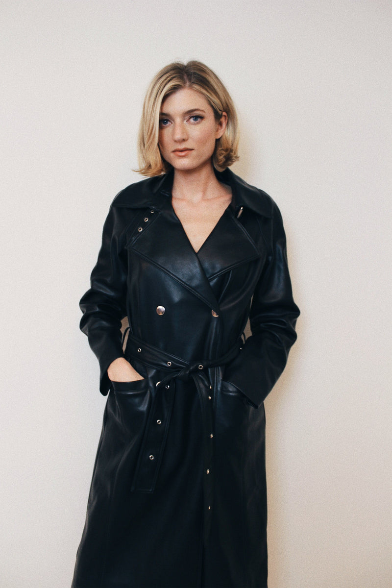 BAGATELLE.NYC Belted Vegan Leather Trench Outerwear Bagatelle