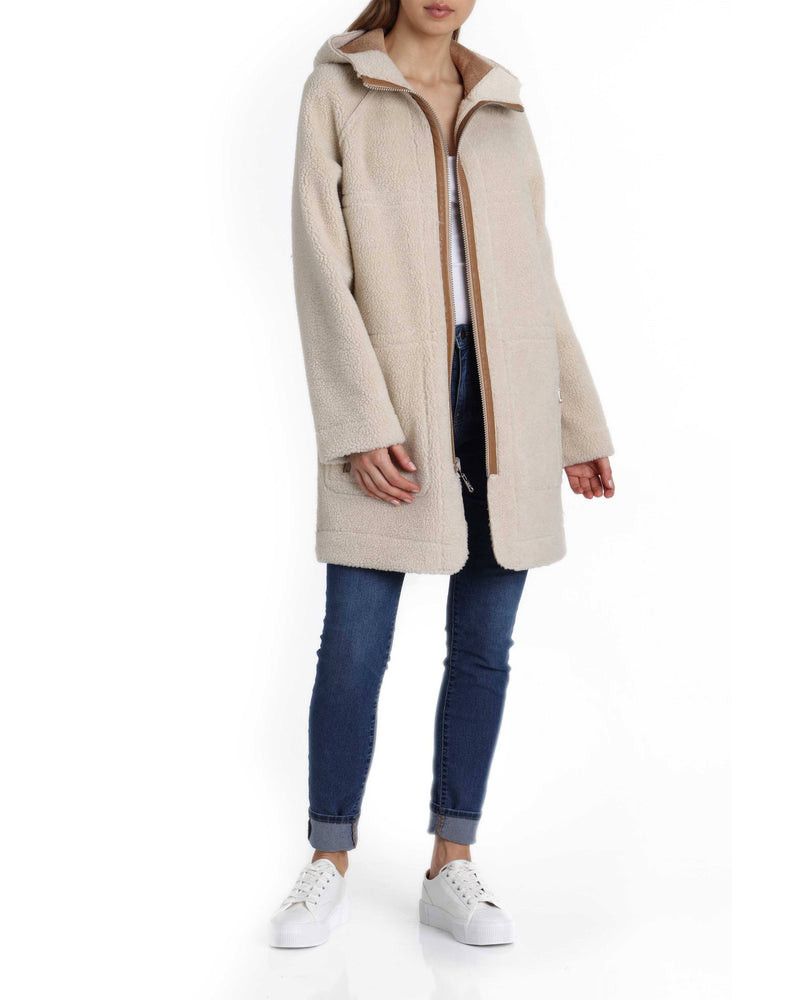 Reversible Hooded Sherpa Coat Outerwear Avec Les Filles