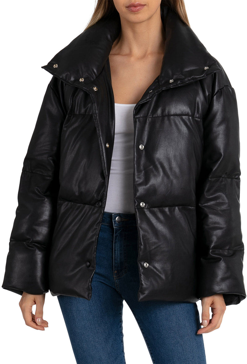Oversized Vegan Leather Puffer Outerwear Avec Les Filles Black L