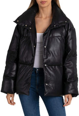 Faux Leather Puffer Outerwear Bagatelle XS Black