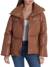 Faux Leather Puffer Outerwear Bagatelle XS Cognac