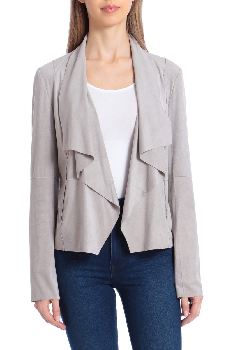Vegan Suede Drape Jacket Outerwear Bagatelle S Grey