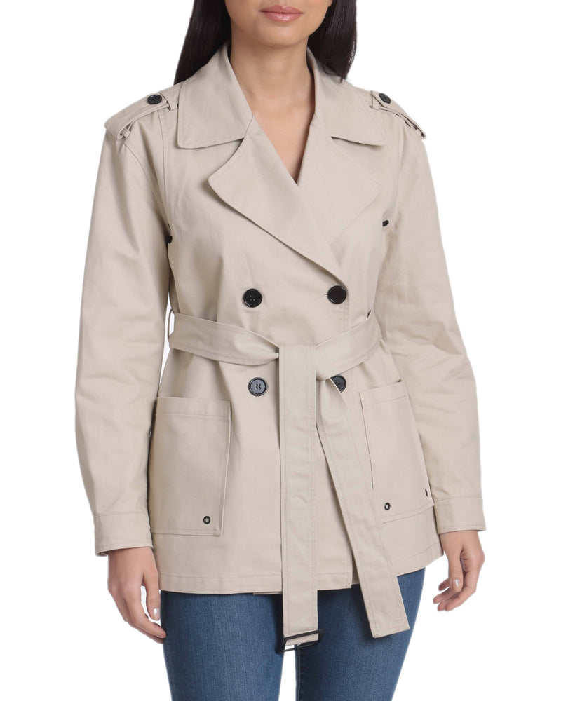 Avec Les Filles Belted Cotton Cropped Trench