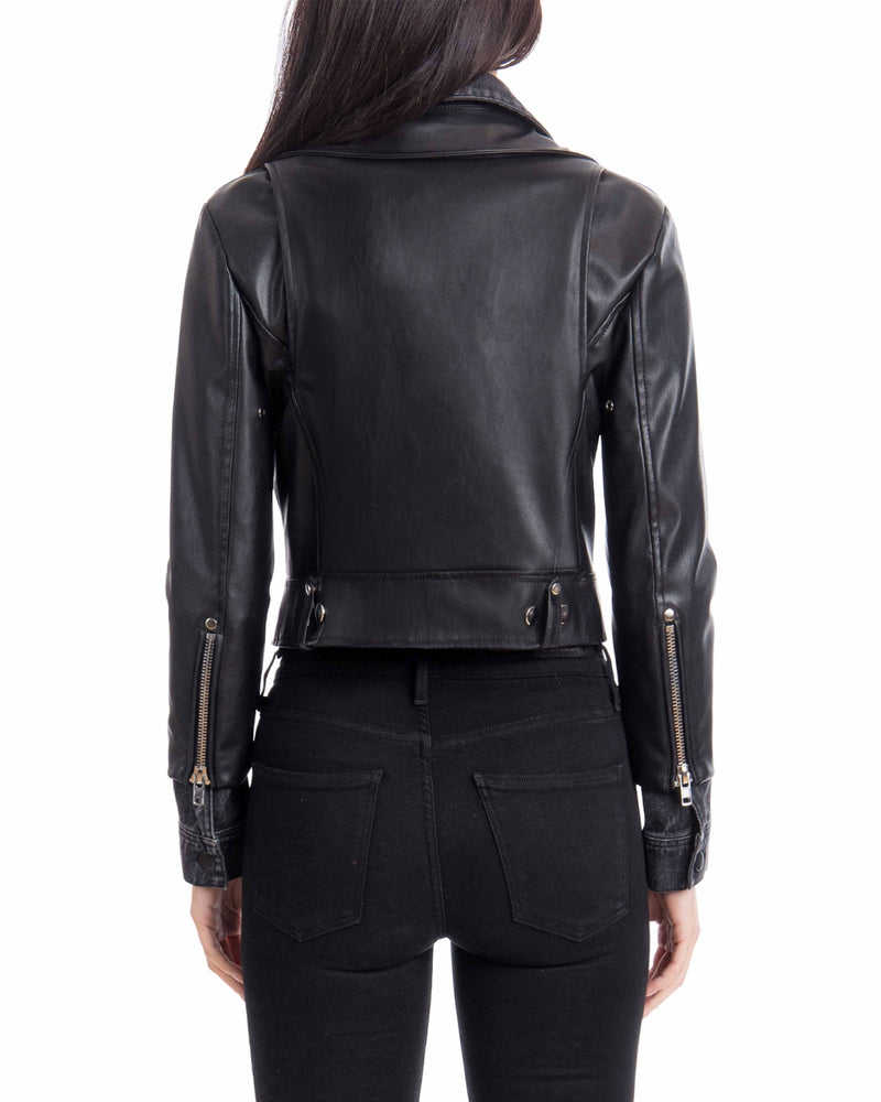 Avec Les Filles Cropped Faux Leather Biker with Denim Insert