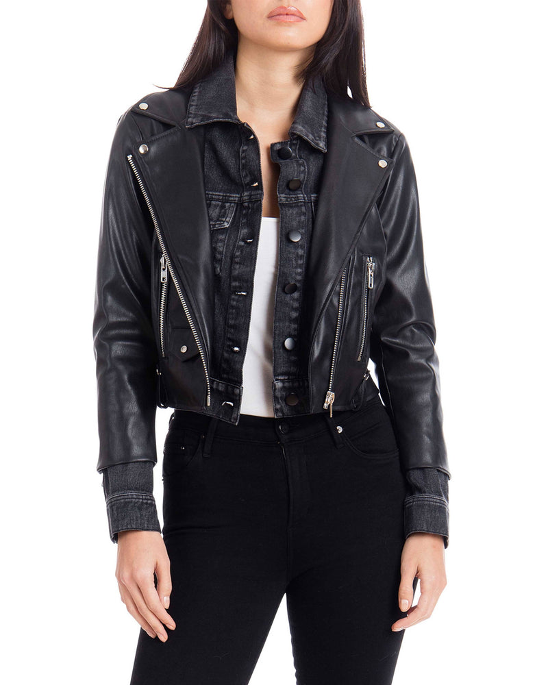Cropped Faux Leather Biker with Denim Insert Outerwear Avec Les Filles XS Black