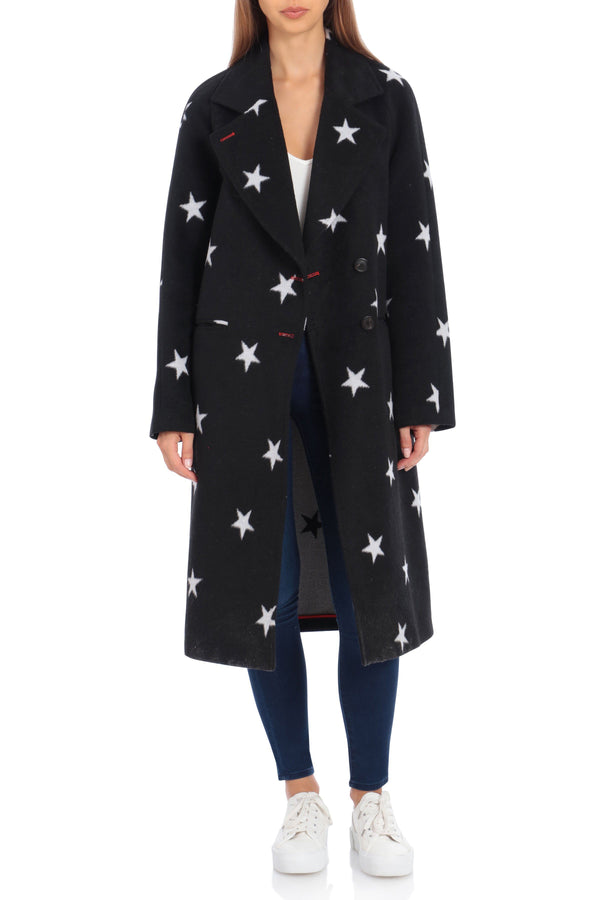 Star Print Double Face Wool Coat Outerwear Avec Les Filles XS Black/White