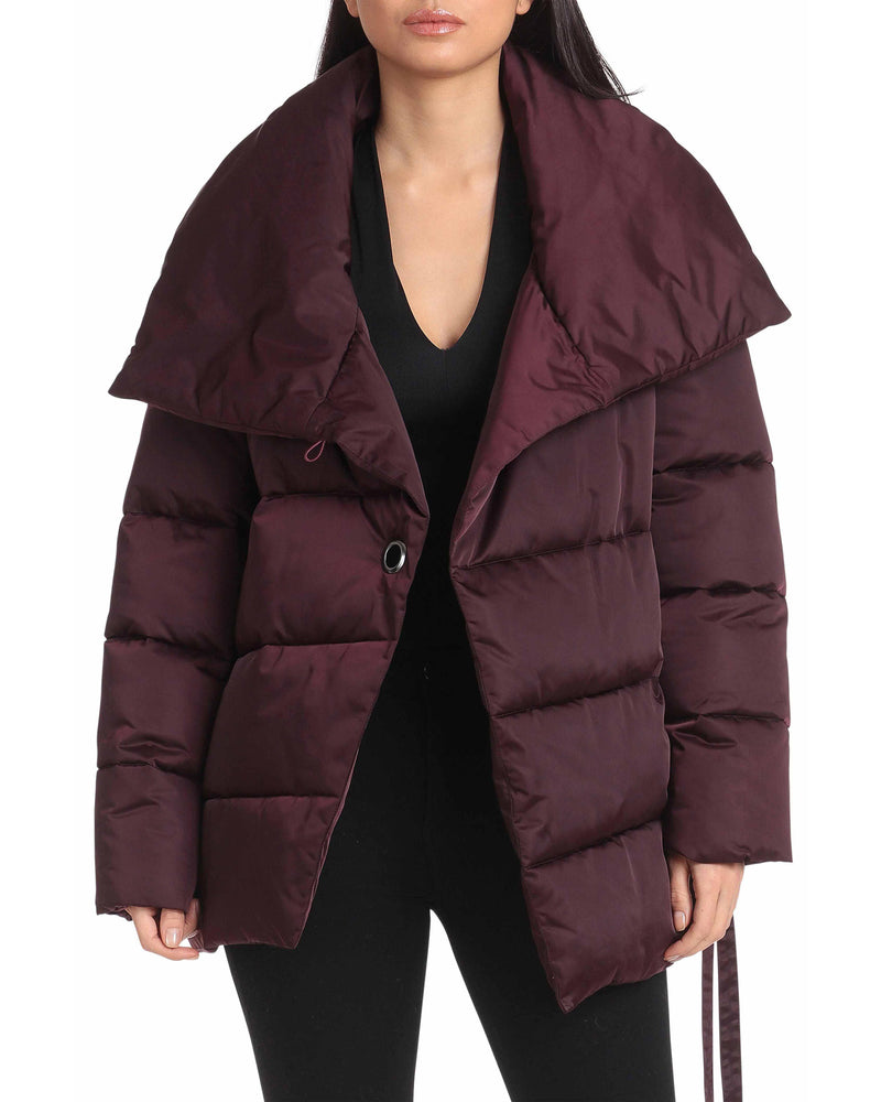 Water-Resistant Wrap Puffer Outerwear Avec Les Filles XS Burgundy