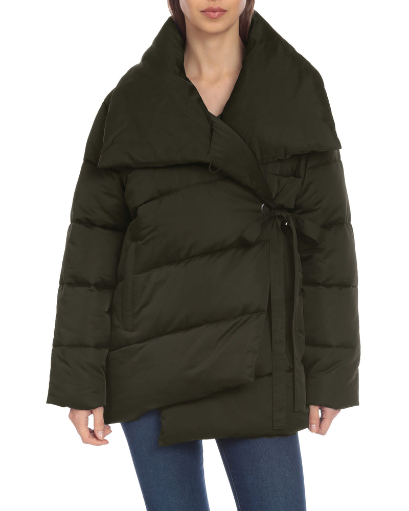 Water-Resistant Wrap Puffer Outerwear Avec Les Filles XS Dark Olive