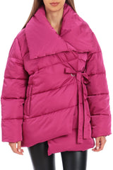 Water-Resistant Wrap Puffer Outerwear Avec Les Filles XS Magenta