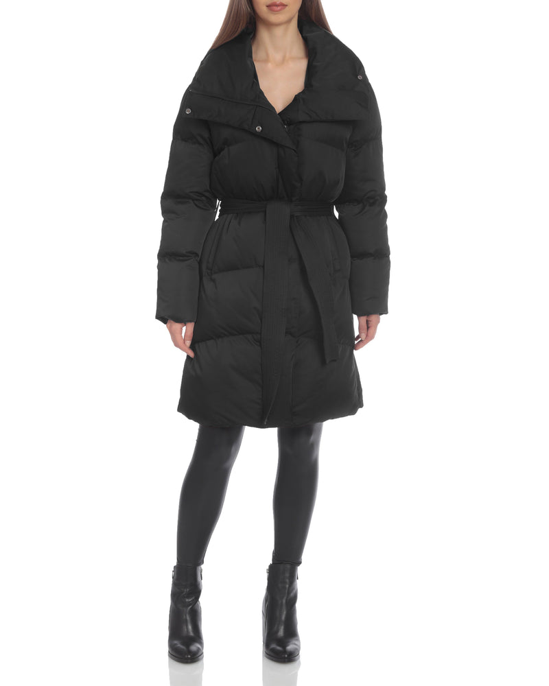 Avec Les Filles Water-Resistant Belted Puffer
