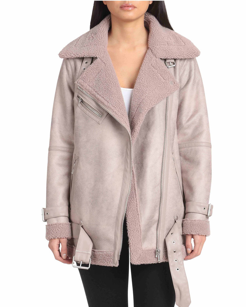 Oversized Faux Shearling Belted Biker Outerwear Avec Les Filles XS Dove