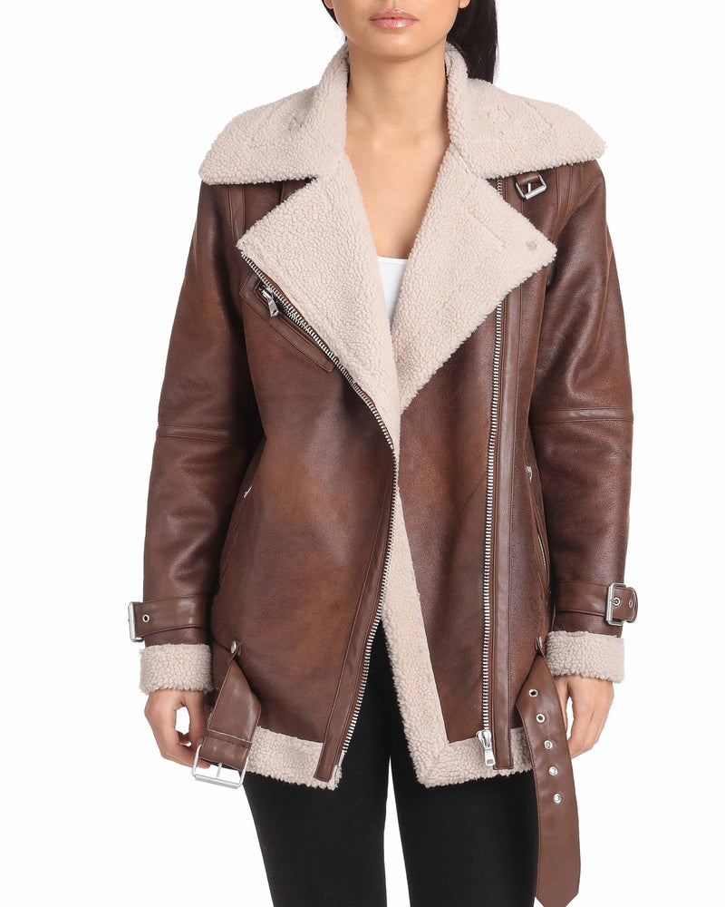 Oversized Faux Shearling Belted Biker Outerwear Avec Les Filles XS Vintage Whiskey