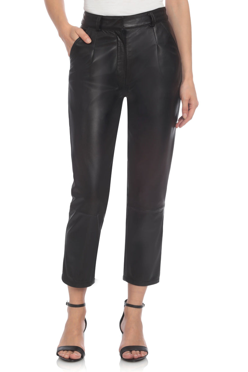 Genuine Leather Trouser Bottoms Bagatelle XS Black