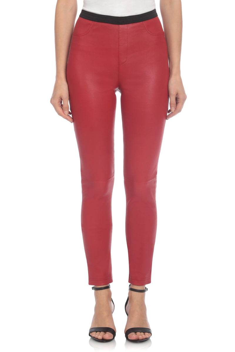 Stretch Lamb Leather Legging Bottoms Bagatelle XS Red