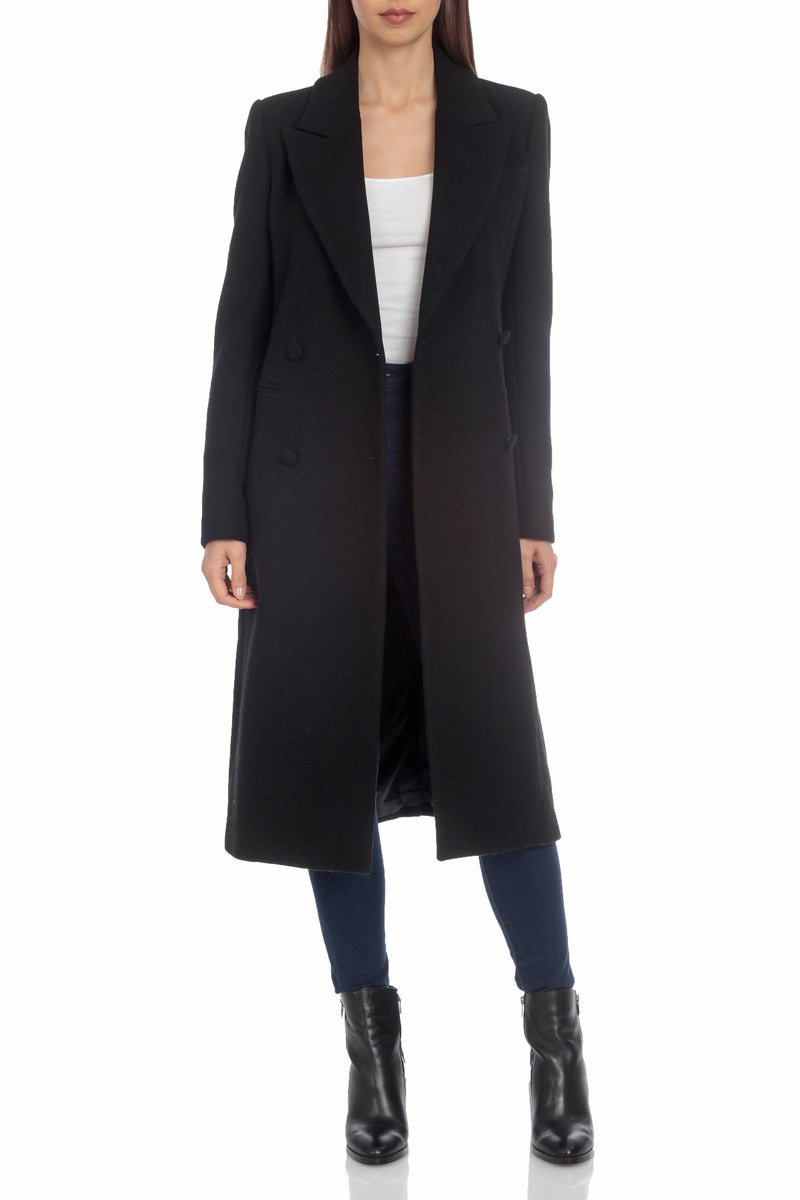 Tailored Wool Double-Breasted Coat Outerwear Avec Les Filles XS Black