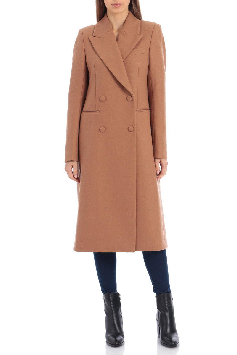 Tailored Wool Double-Breasted Coat Outerwear Avec Les Filles XS Camel