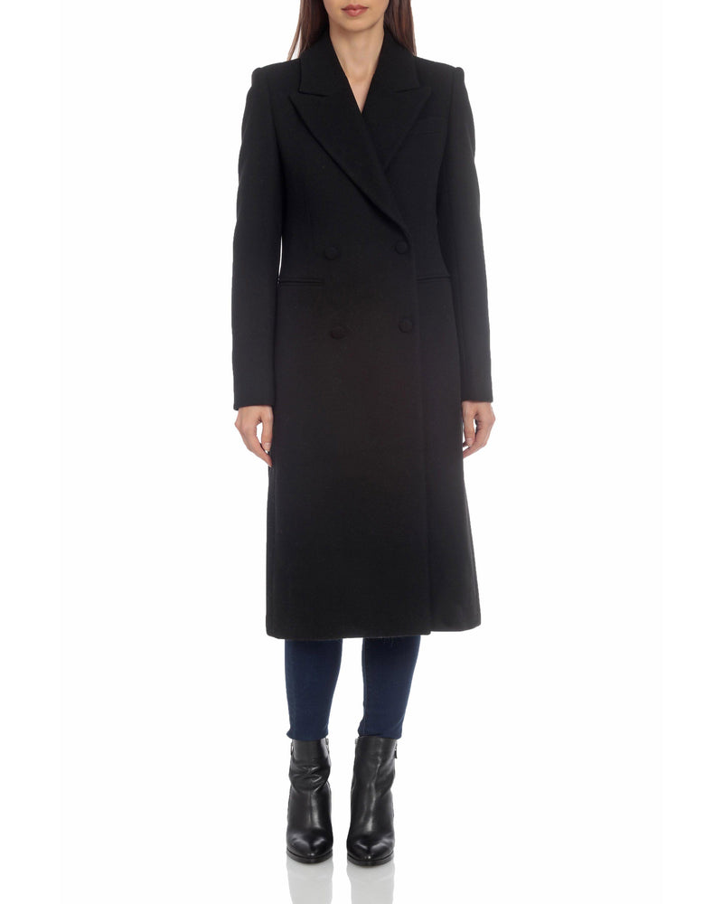 Avec Les Filles Tailored Wool Double-Breasted Coat