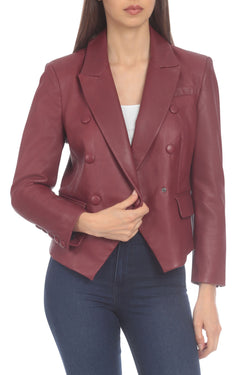 Avec Les Filles x BAGATELLE.NYC BAGATELLE.CITY Lamb Leather Shrunken Blazer
