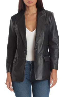 Avec Les Filles x BAGATELLE.NYC BAGATELLE.CITY Lamb Leather Boyfriend Blazer