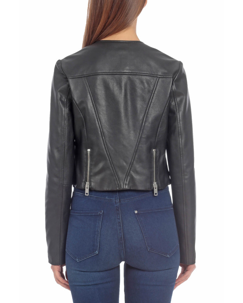 Cropped Leather Moto Outerwear Bagatelle