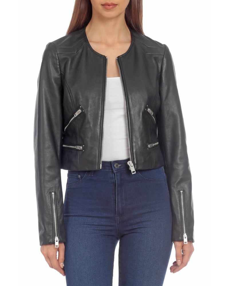 Cropped Leather Moto Outerwear Bagatelle XS Black