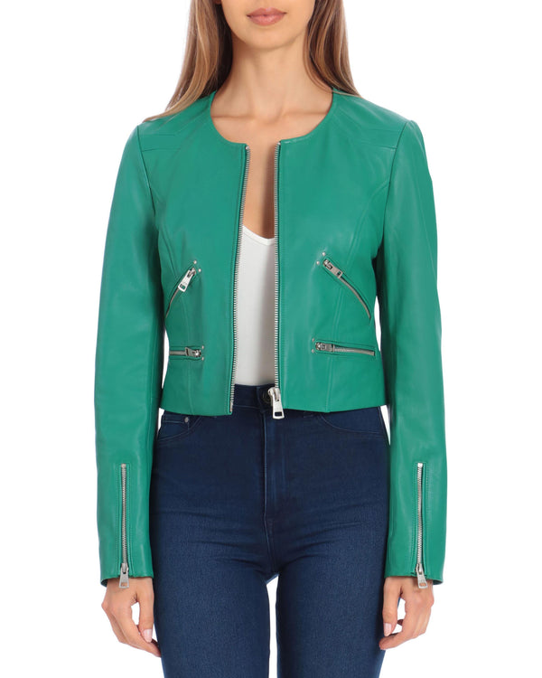 Cropped Leather Moto Outerwear Bagatelle XS Kelly Green